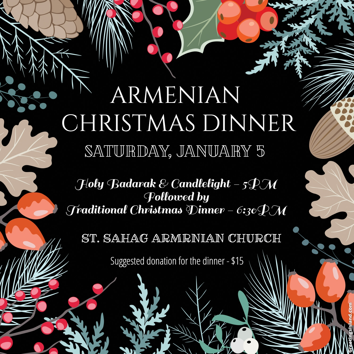 Armenian Christmas.Christmas Dinner St Sahag Armenian Church